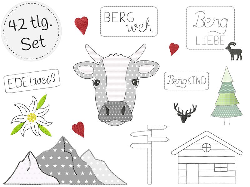 doodle Stickdatei Set - BergLiebe