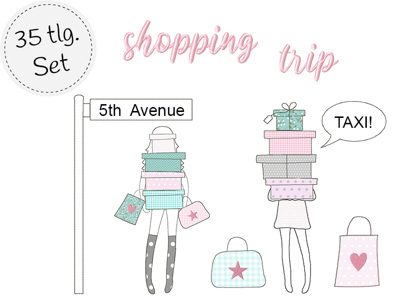 doodle Stickdatei - shopping trip